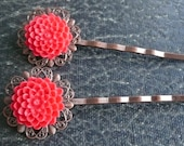 Set of 2 Brass Vintage Style Filigree Hairpins withRed Resin Flowers