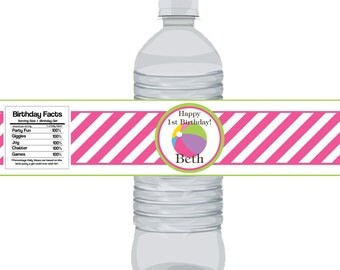 Pool Party Bottle Wrap - Hot Pink Striped Colorful Beach Ball Water Bottle Label - a Digital Printable File
