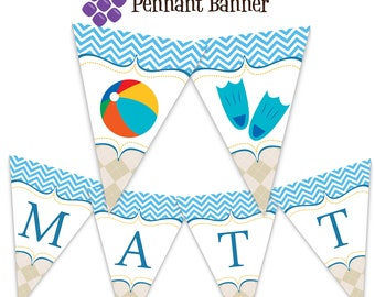 Pool Party Pennant Banner - Blue Aqua Chevron and Tan Argyle Water Beach Ball Personalized Birthday Party Banner - A Digital Printable File