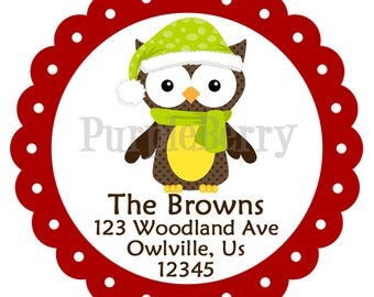 Holiday Address Labels -  Red, Green, Brown Winter Bird Owl Personalized Address Label Stickers - 20 Christmas Address Stickers