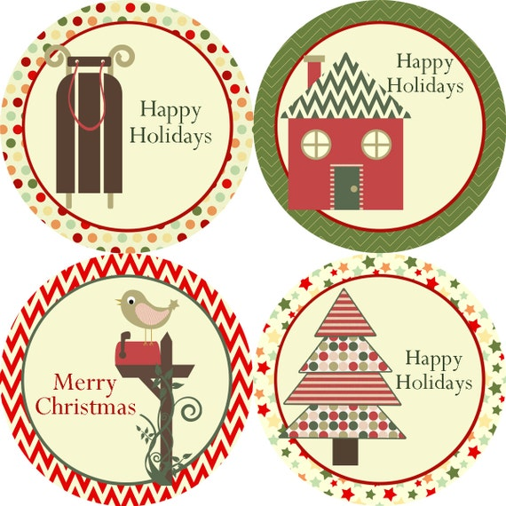 Holiday Stickers Vintage Red Green Chevron Polka Dot