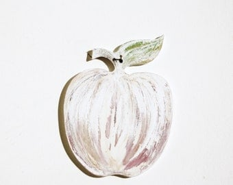 Apple Decorative Wall Ornament Hand Cutted and Hand Painted Rustic Decor