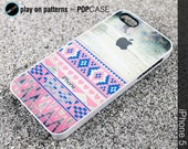 iphone 5 case iphone 5 cover iphone 5 skin iphone 5  hearts in aztec geometric print on wood