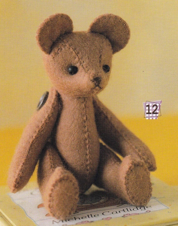 Easy Sewing Cute Felt Stuffed Teddy Bear with Movable Joints Mascots ...