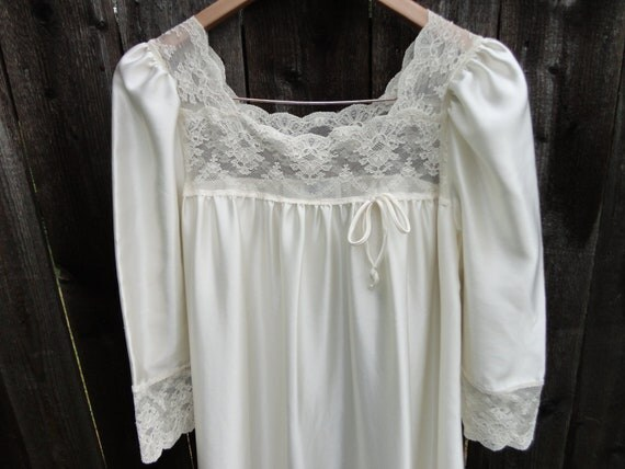 Long Sheer Cream Lace Nightgown