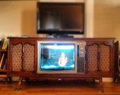 Customized Vintage Entertainment Center with Fish Tank, Record Player and AM/FM Radio