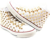 Studded Converse Gold cone studs with converse high top white by CUSTOMDUO on ETSY