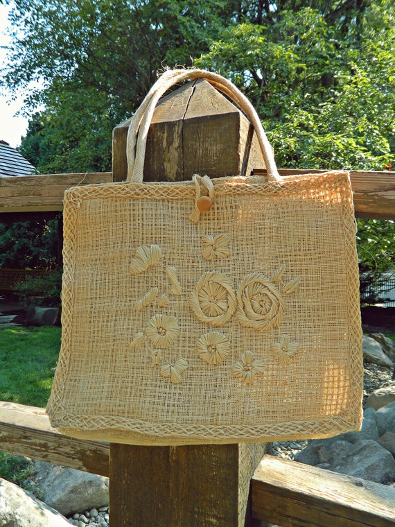 Woven Bag / Straw Bag / Resort Bag / Summer Tote / Ethnic Inspired Bag / Woven Floral / Hemp Accessory / Jute Bag