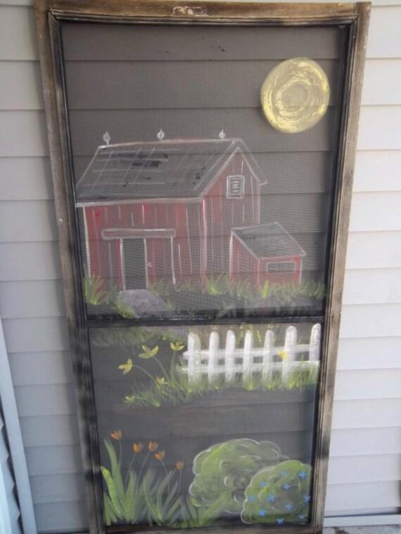 Screen Door With Painted Flowers