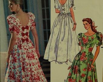 "Dress, Scooped Back Neckline -1990's- Butterick Pattern 5492   Uncut   Size 6-8-10-12  Bust 30.5 to 34"""