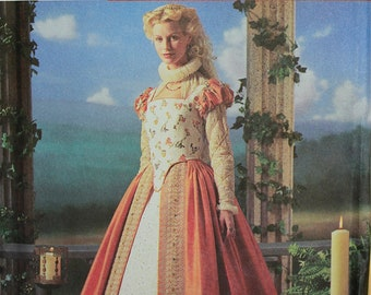 Dress Shakespeare Simplicity Elizabethan Costume Collection Pattern 8881 Uncut  Size 6-8-10-12  Bust 30.5 to 34""