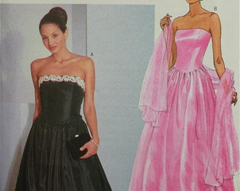 1990s Evening Dress & Stole  Butterick Pattern 6398 Uncut  Sizes 12-14-16  Bust 34-36-38""