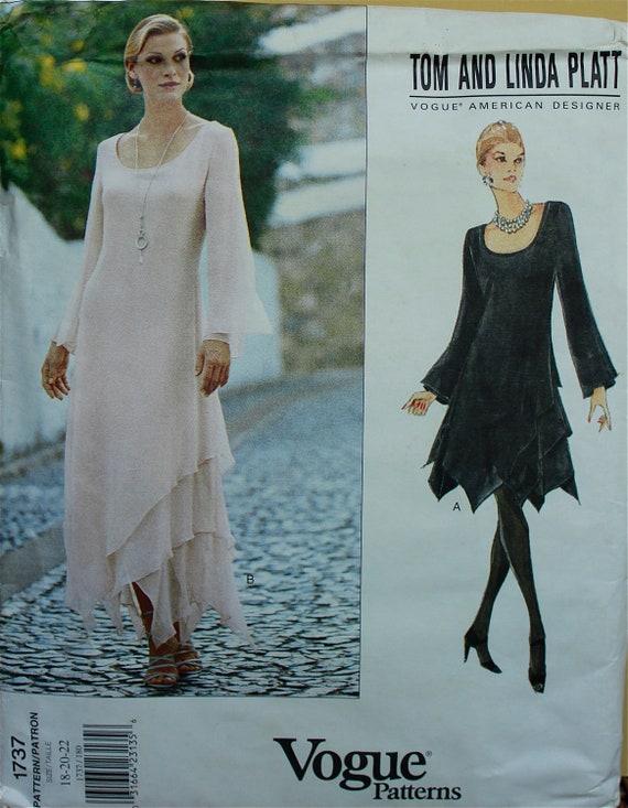 "Designer Dress by Tom and Linda Platt -1990's-  Vogue American Designer Pattern 1737 Uncut Sizes  18-20-22   Bust 40-42-44"""