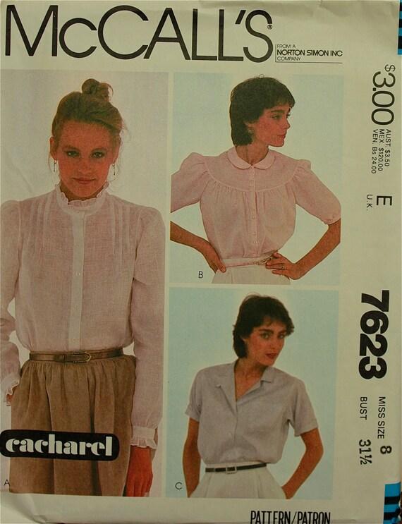 "1980s Blouse Set McCall's Pattern 7623  Uncut   Sizes 8  Bust 31.5"""