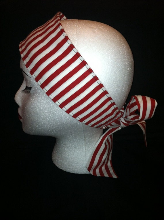 Red Striped Headband with Ties