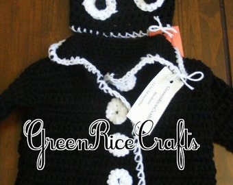 """HALLOWEEN """"Little Boo"""" NB through 5T Sweater and Monster Hat Costume Set"""