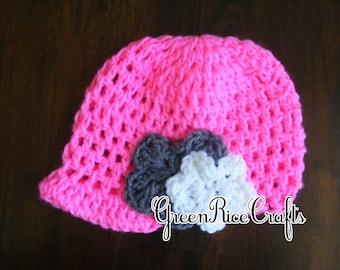 NB through 5T Hot Pink Visor Beanie