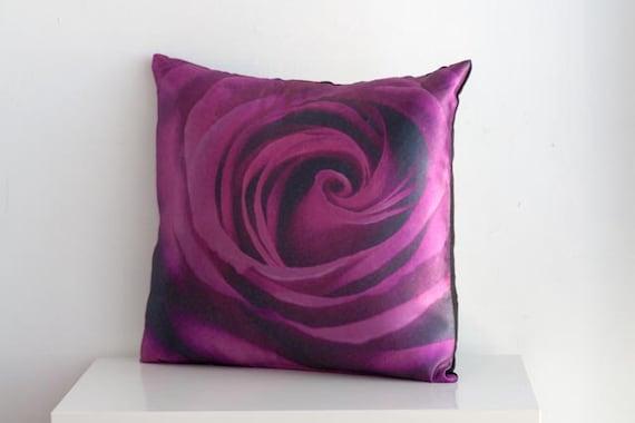 Purple rose flower pillow cover 16 X 16