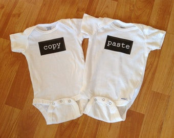 Copy and Paste Twin Onesies. baby, cute, funny, computer, ctrl c