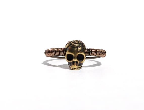 Brass Rose Skull Ring
