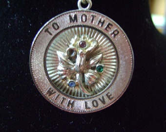 """Silver Plated 1960 """"To Mother With Love"""" Charm"""