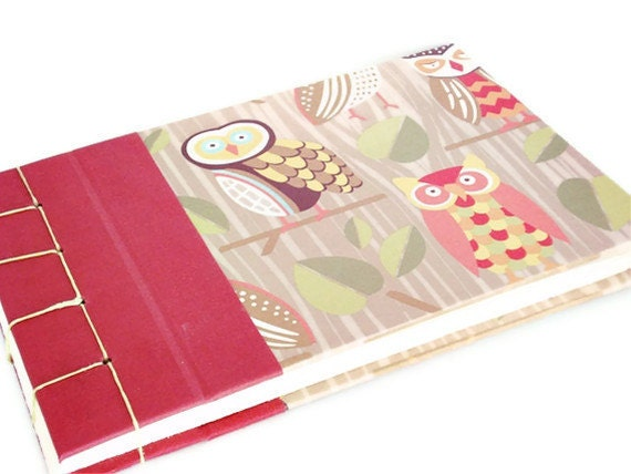 Notebook Owl Cover - Handbound with a Stab Binding - Baby or Pregnancy Journal