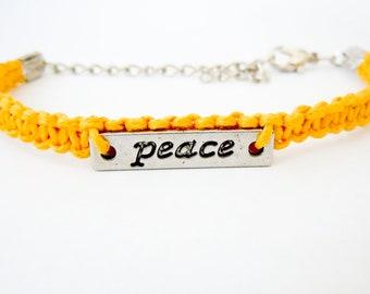 Yellow Macrame Bracelet, Peace Bracelet, Silver Bracelet, Bracelets for Women