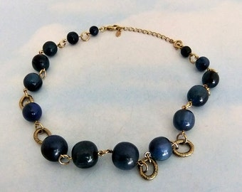 Monet Blue Marbled Bead Necklace Silver Tone