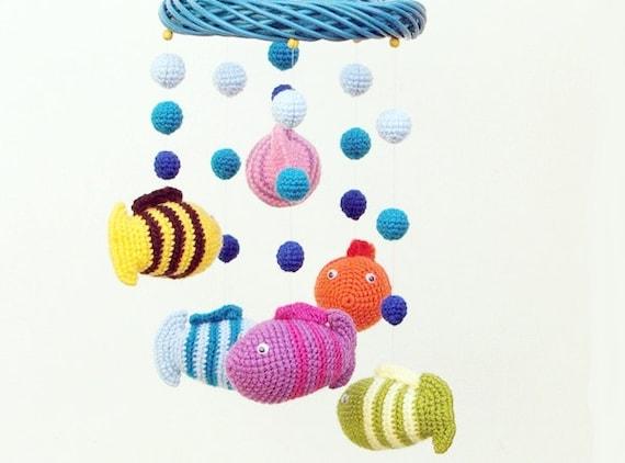 fish baby mobile / crochet baby mobile / nursery decor / crib mobile / kids room