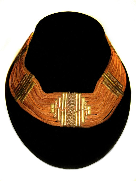 Vintage 1970's Brown Suede Choker Necklace with Metal Trims:
