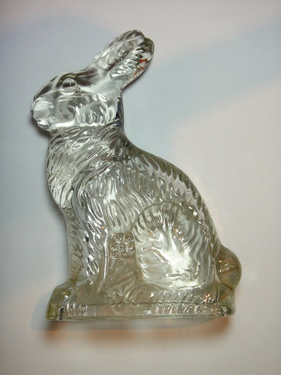 Antique Glass Rabbit Candy Container