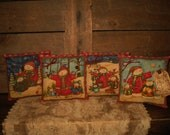 foLk aRt PrimiTive CounTry Snowman Christmas Tree PiLLoW Tucks Bowl FiLLers Tag