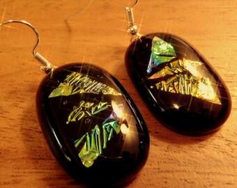 Fused dichroic glass earrings