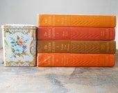 SALE: set of four vintage autumn, fall, orange, red, brown, decorating books,