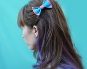 Nabokov Handmade Fabric Color Block Hair Bow Turquoise Coral Tips