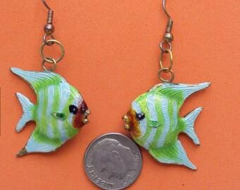 Vintage Double Sided Enamel Fish Earrings