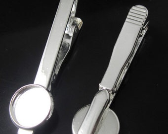 Free shipping ,DIY Tie Clip Kit -  gold and silver Plating, inner diameter 12mm and 10mm Bezel Setting - 30 pcs BSID23041