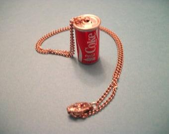 Tiny Vintage Coke Can Necklace Pendant 16 inch Chain - Coca-Cola