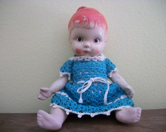 Precious Vintage Bisque Baby Doll With Red Hair