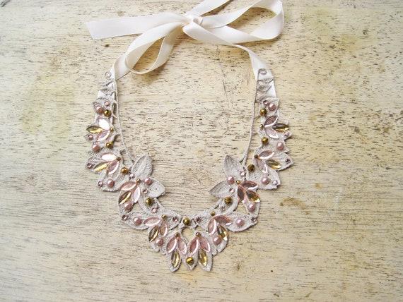 Statement necklace blush topaz and champagne bib necklace