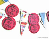 Back to School Paper Bunting Banner -  Teacher Classroom Decorations,  Apples, ABC, 123, Rulers