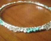 Wire Wrap Bangle -Turquoise and White