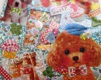 Japanese Qlia kawaii Puppy's Memory Tea Time 71pcs stickers flake