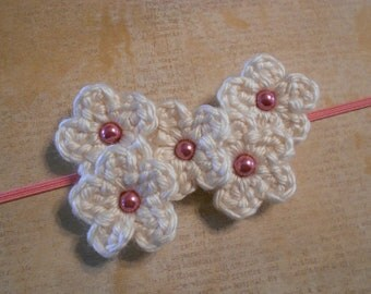 Crochet Flower Bouquet Headband-Cream&Pink-Newborn to Adult