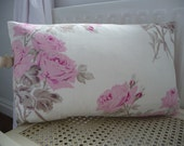 Designer Fabric Cushion Cover Pink Rose with grey stems Accent Pillow Throw pillow Decorative Cushion Scatter pillow