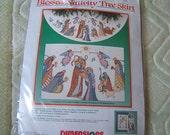Nativity Counted Cross-Stitch Tree Skirt  8379 Kit  NIP