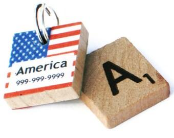 American Flag, USA Flag Scrabble Dog Tag, Pet ID Tag