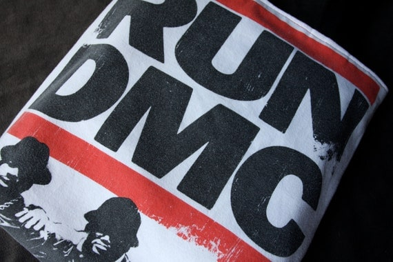 Run DMC - Upcycled Rock Band T-shirt Tote Bag- OOAK