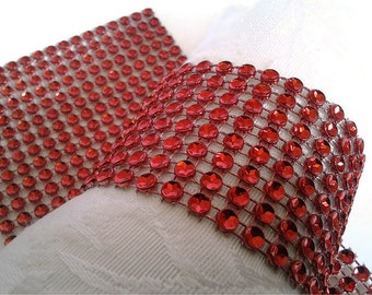 Red Bling Napkin Rings - Rhinestone Napkin Ring Wraps - Holiday Party Napkin Rolls -Red Hat Luncheon Napkin Rings 25 Pc Lot