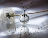SIlver Dandelion Necklace Make A Wish Glass Bead Orb Dandelion Seed Transparent Round Beadwork Flower Botanical - TheHangingGarden